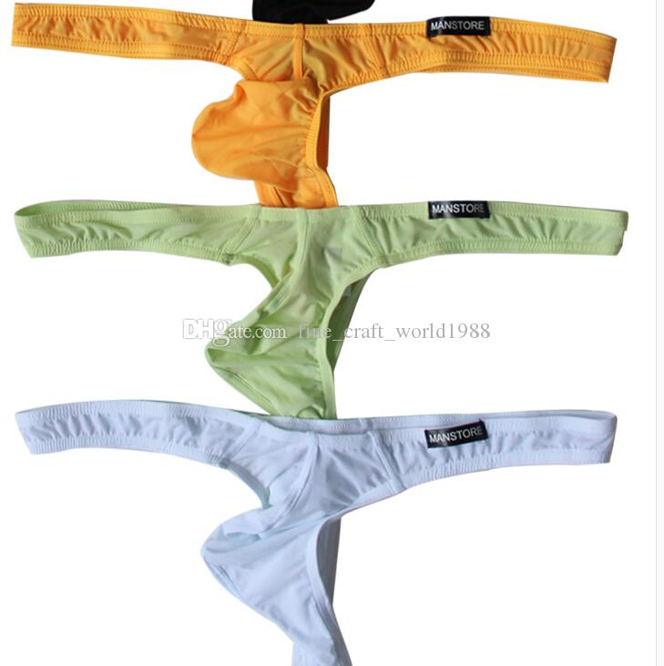 9999c015f2 Fine new Sexy MANSTORE mens underwear sexy ice silk ultra-low waist  translucent thong small Ding small pants 6piece lot smallest thong underwear  for sale