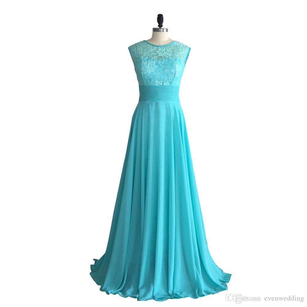 Turquoise Long Chiffon Bridesmaid Dresses 2018 Scoop Neck Lace Embroidery Wedding Party Dress Custom Made Fast Shipping