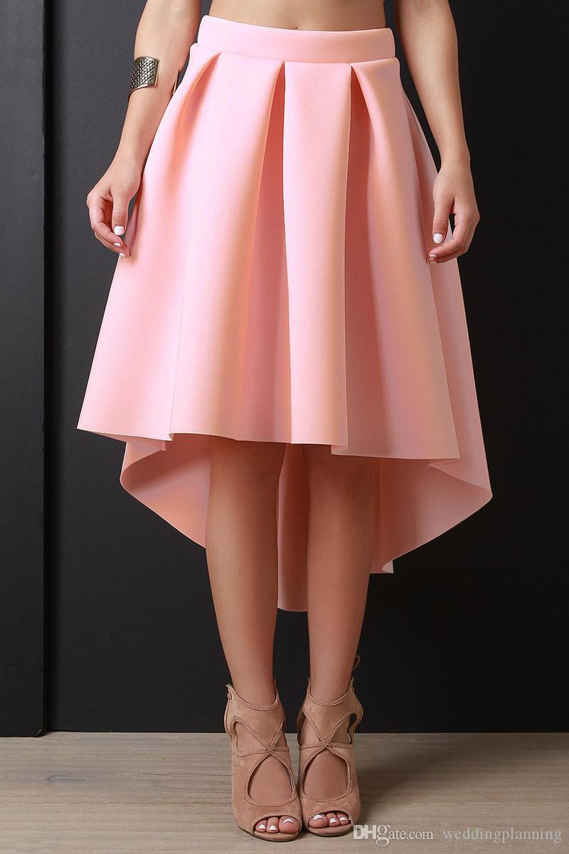 Pink High Low Women Skirs For Teens Satin Pleats A Line Prom Party Dresses Zipper Back Cheap Girls Pageant Skirts