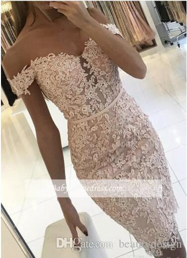 2017 섹시한 머메이드 짧은 칵테일 드레스 레이스 Applique 오프 - 어깨 장식 조각 무릎 길이 등신 파티 동창회 드레스