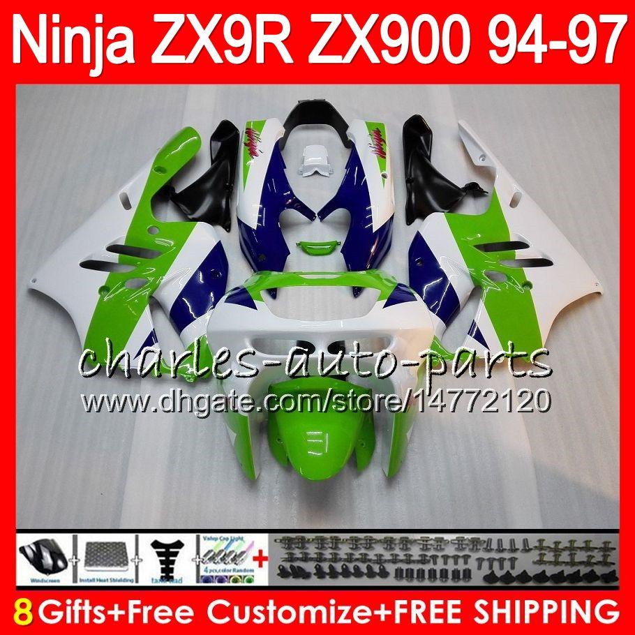 8Gifts Para KAWASAKI ZX 9 R ZX9R 94 95 96 97 900cc 49HM10 verde blanco ZX 9R ZX900 ZX900C ZX9R 1,994 1,995 1,996 1,997 kit de carenado