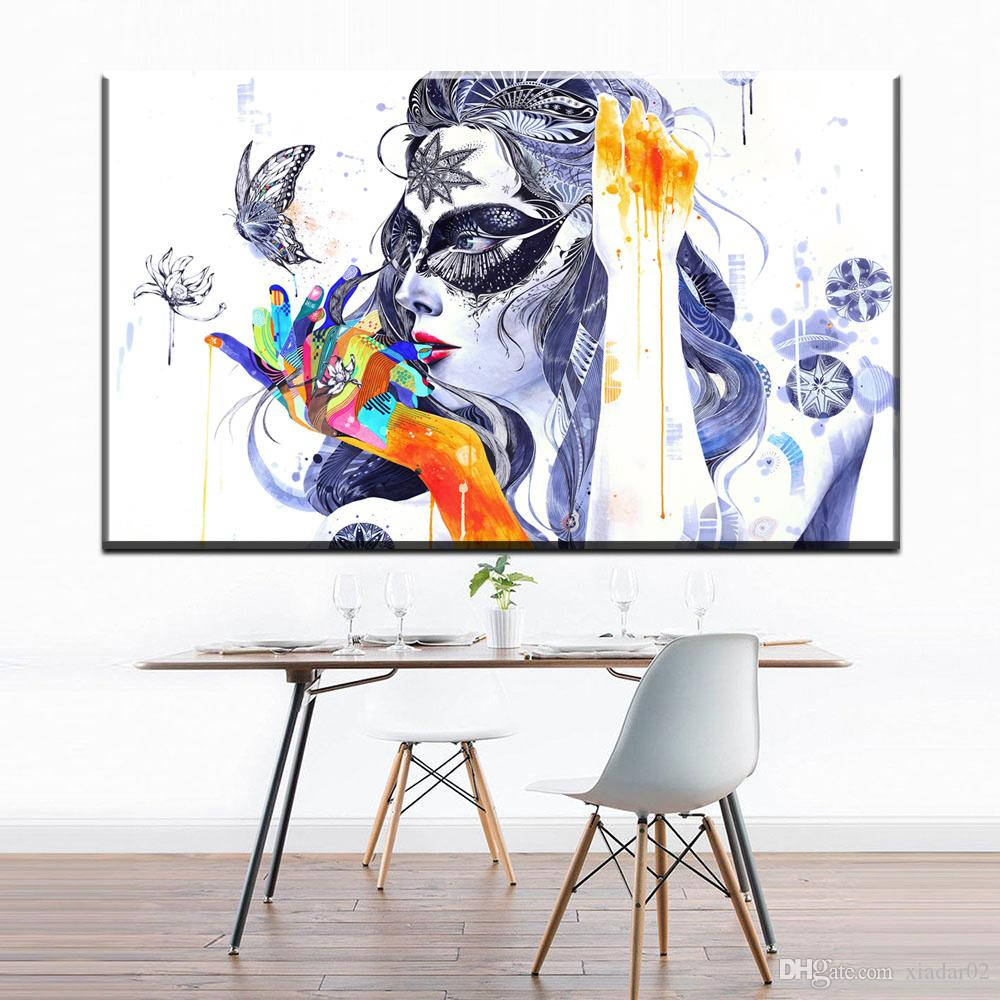 ZZ707 watercolor canvas poster and prints art beautiful girl butterfly abstract canvas pictures oil art painting for home decor