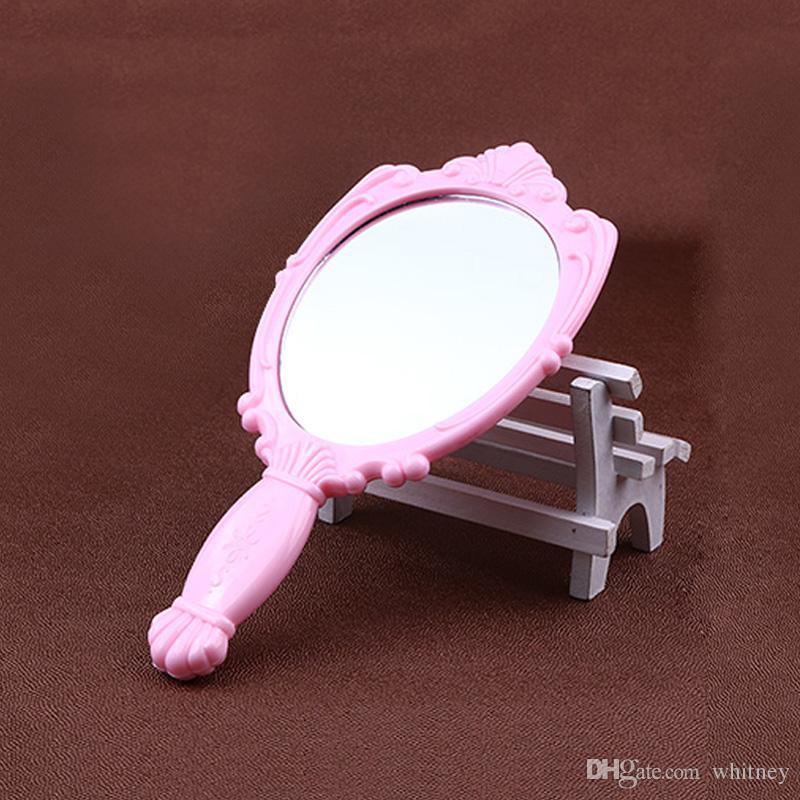 20x / lote Vintage Rose Cosmético Espejo de plástico Maquillaje de plástico Mano de la muchacha de la mano de la mano del espejo Púrpura, Rojo, Negro, Blanco, Rosa # MD18