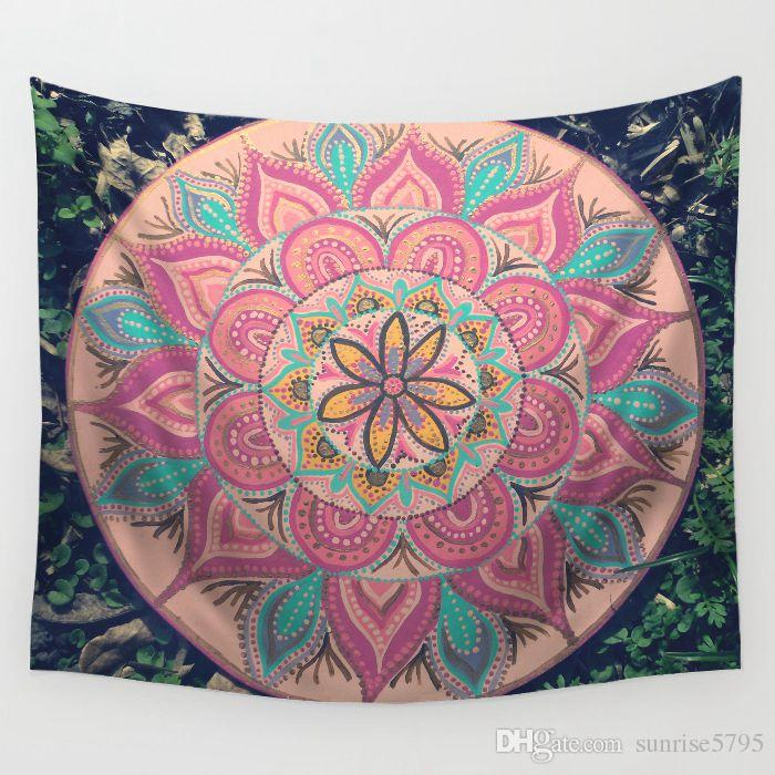 mandala print tapestry indian style maison decoration boho wall hanging dorm decor polyester bedspread ombre beach blanket