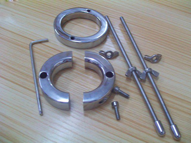 Male Chastity Devices Stainless Steel Scrotum Ball Stretcher Metal Cock Ring Penis Ring Ball Torture
