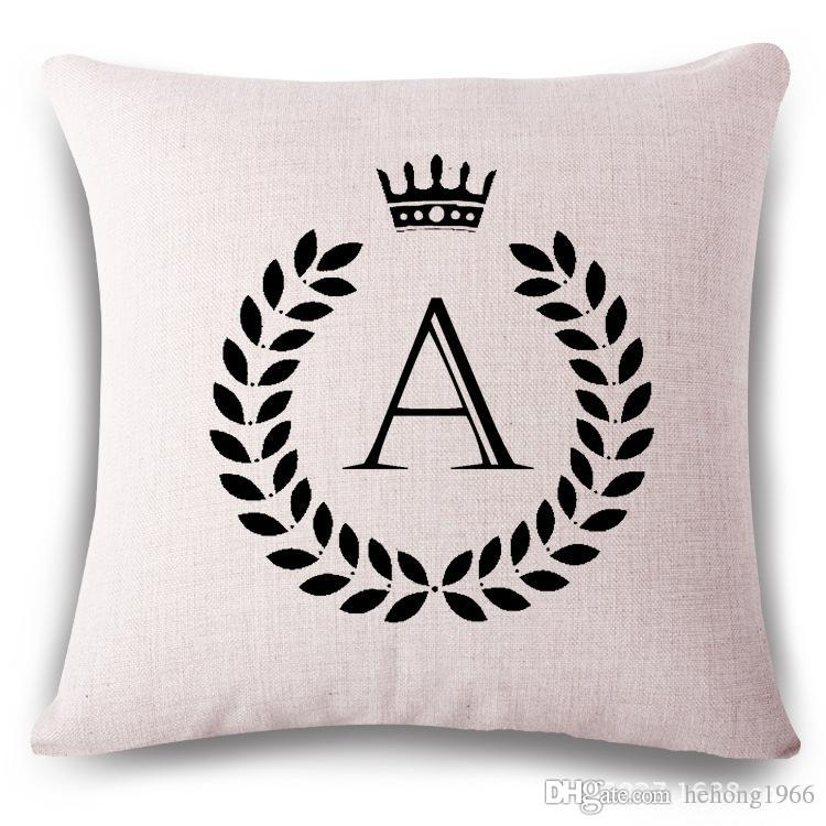 English Letter Pillow Case With Crown Cotton Linen Cover Soft Square Shape  Pillowcase Sofa Back Cushion 26 Style Select 15hs J1 R