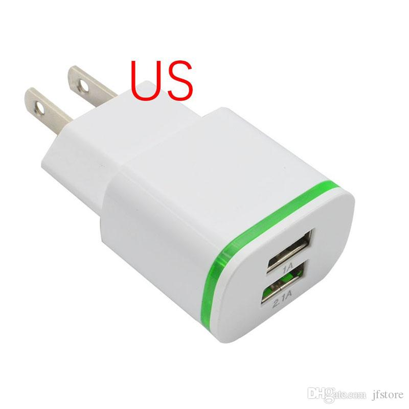 New EU US Plug 2 Ports Green LED Light USB Phone Charger 5V 2.1A Wall Adapter Device Data Charging