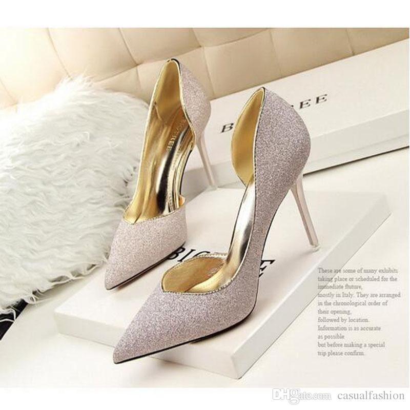 1e95b1e7d7b5be Acheter Top Qualité Sexy Argent Haute Talons De Mariage De Mariée Chaussures  Pompes Marque De Mode 7/9 CM Pointu Toe Mince Talon Chaussures Livraison ...