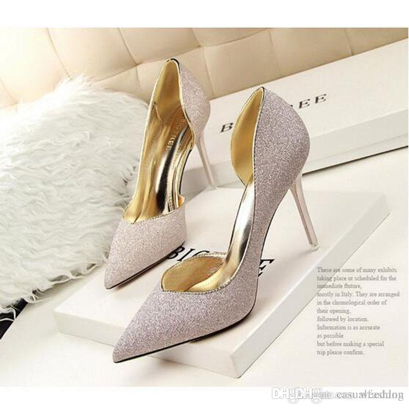 Top Quality Sexy Silver High Heels Wedding Bridal Shoes Pumps Fashion Brand  7 9 CM Pointed Toe Thin Heel Shoes Wedding Shoes Red Wedding Shoes Wedge  From ... 082968a987ac