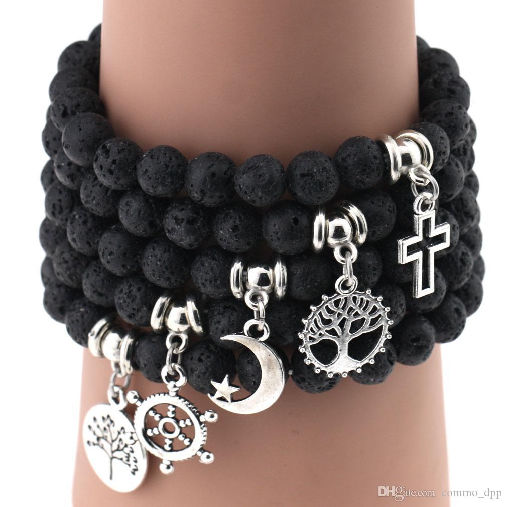 Hot Lava Rock Beads Bracciali Timone albero croce piuma stella fascino Nero naturale pietra stretch Bracciale donne Fashion Artigianato gioielli
