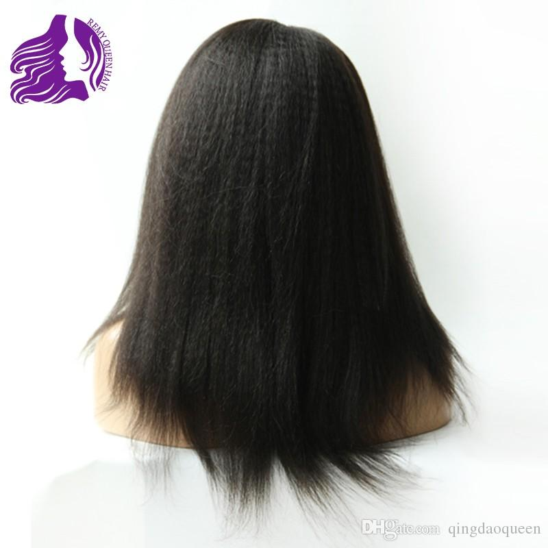 Full Lace Human Hair Wigs Kinky Straight Natural Color 1# 1b# 2# 4# Natural Hairline Grade 8a Hand Tied Brazilian Malaysian Peruvian Indian