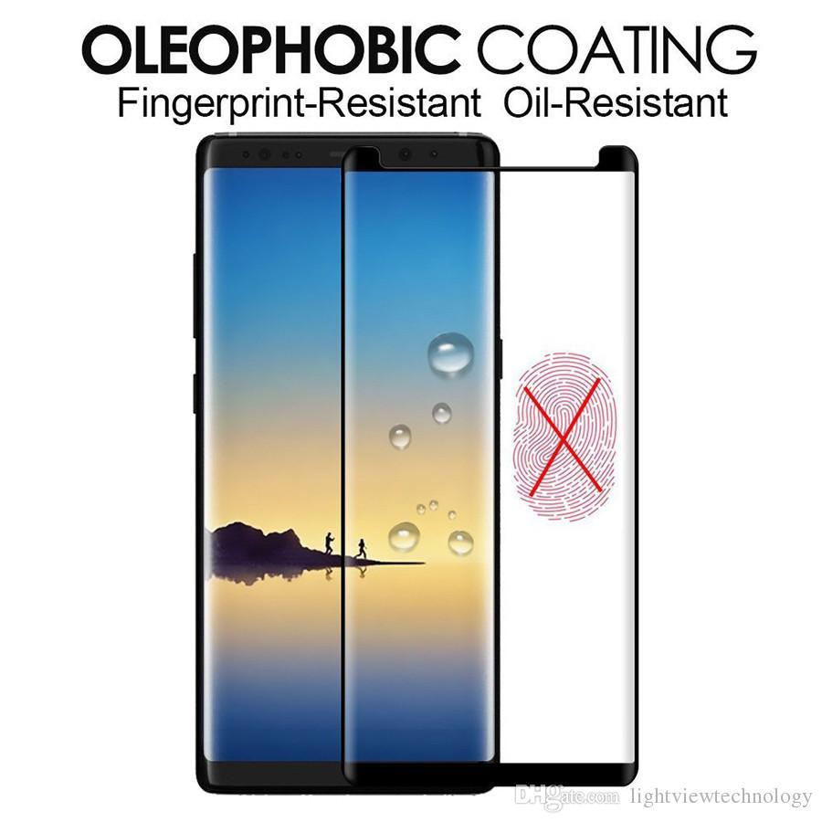 Étui en verre trempé adhésif plein écran Idéal pour Galaxy Note 9 S9 Plus 8 bord S8 Plus S7 protecteur d'écran 3D Full Glue