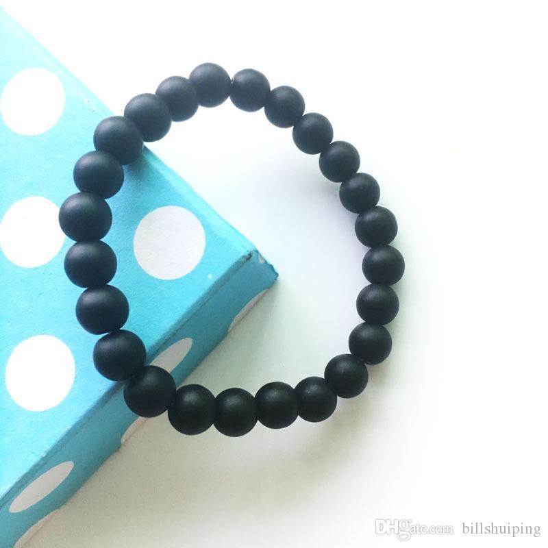 Venta al por mayor 8 mm nueva joyería hecha a mano difusor antifatiga negro piedra encantos pulseras cuentas de oración pulsera envío gratis
