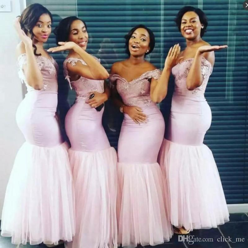 Peach Bridesmaid Dresses Long Off The Shoulder Lace Appliques Maid ...