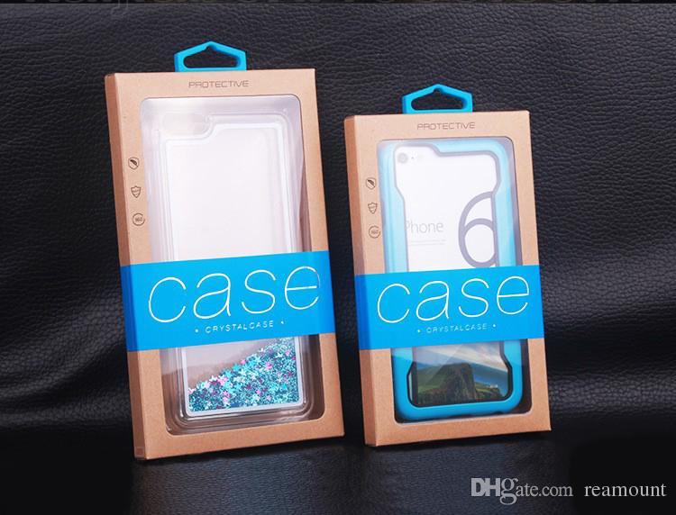 106 * 185mm Caso de Telefone Celular Pacote de Embalagem de Varejo Novo Pacote de Papel Kraft com PVC Janela Bolsa Caso Box Package Bag Para o iphone 6 7 cobrir