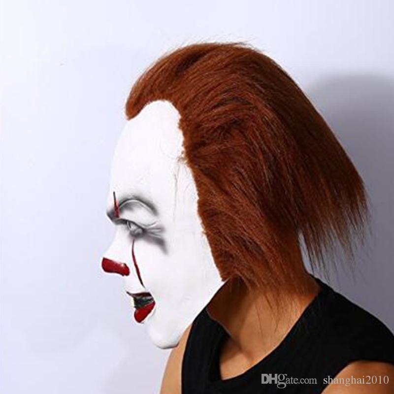 Máscara de Halloween de Navidad JUGUETE Pennywise Disfrazó La Película de Stephen King it Scary Clown Mask Cosplay Prop de los hombres envío gratis
