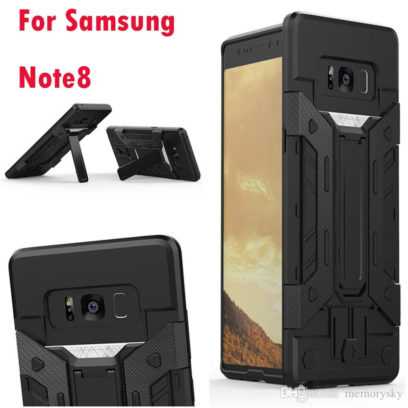 size 40 087f9 749e1 Shockproof Kickstand Armor Case For Samsung Galaxy Note8 Note 8 Hybrid Hard  Plastic TPU Ironman Holder Defender Cover Luxury Iron man