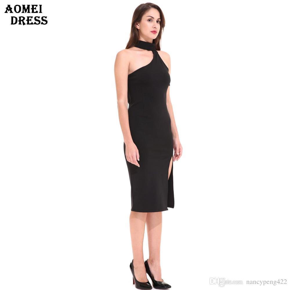 Women\'S Black Bodycon Dress Sexy Slim With Spite Halter Design Girls ...