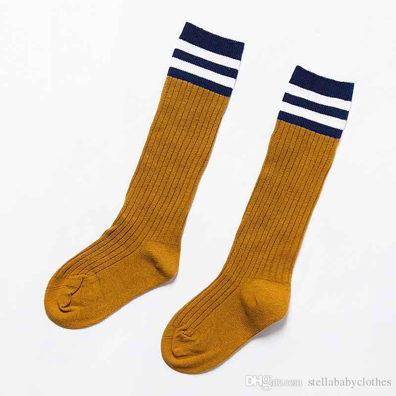 Europe Baby Girls Long Sock Classic Knee Socks Fashion Striped Solid Color Cotton Sock England Style Children Leg Warmers Sock
