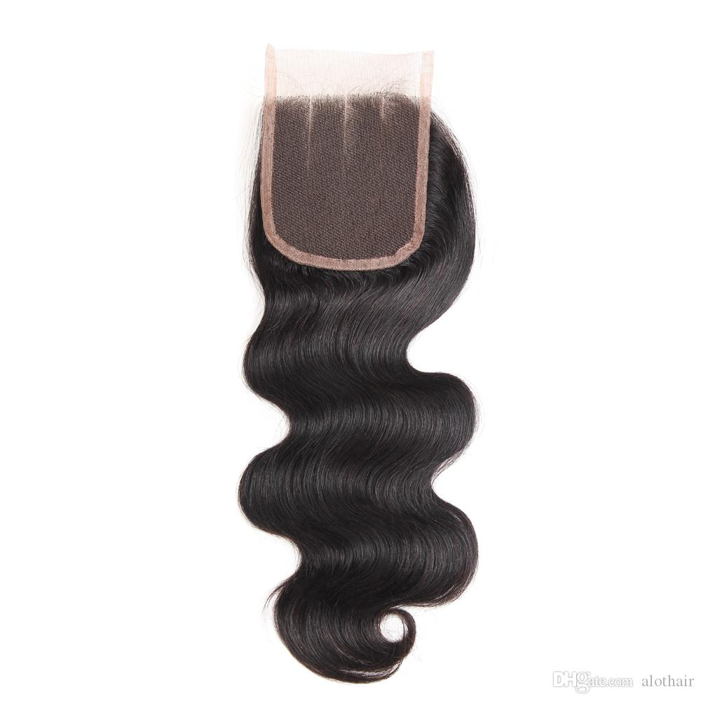 Brazilian Virgin Hair 3 Bundles with 4x4 Lace Closure Body Wave Hair Weaves 100% Unprocessed Brazilian Human Hair with Closure