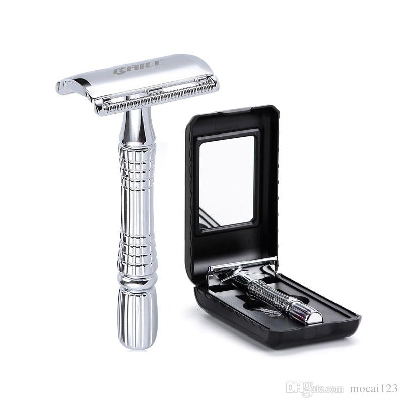 1razor 1 Blade 1 Case Manual Shaver set Men's Razor Double Edge Safety Razor Zinc Alloy Classic Razors