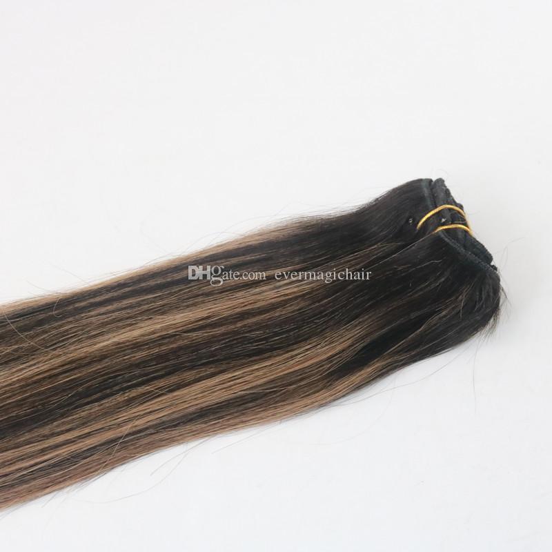 Balayage Color T1B / 6 Лучшие Продажи Прямых Зажимов Для Человеческих Волос с Прямыми Волосами в Наращивании Волос 100G В Пучок