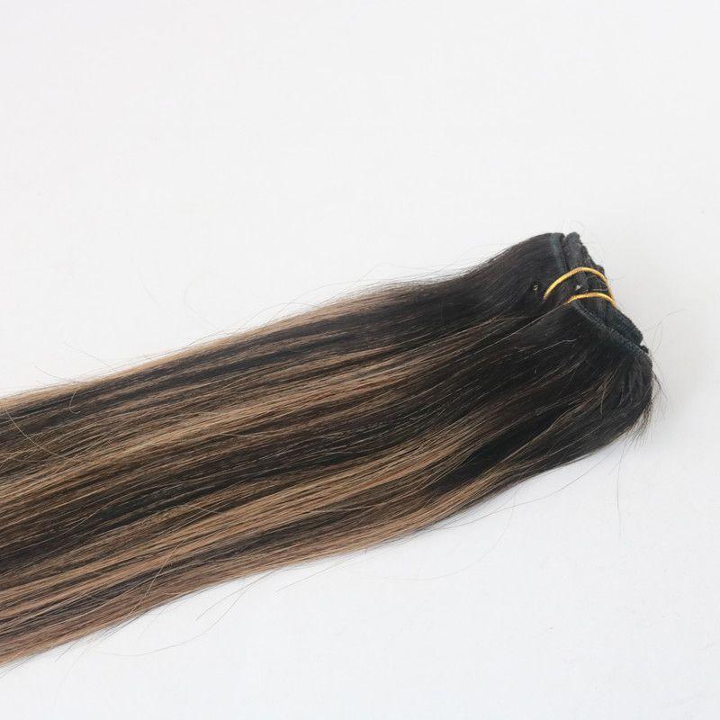 Balayage Farbe T1B / 6 Meistverkaufte Jungfrau-Haar-Haarspange in Echthaarverlängerung 100G pro Bündel