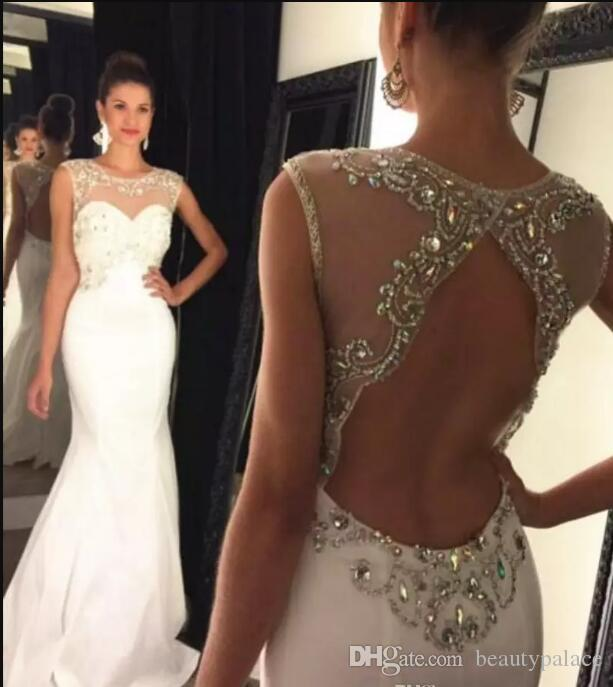 Sexy Backless Mermaid Dresses Evening Wear Sheer Neck Colorful Crystals Beaded Top 2018 Elegant Long Formal Prom Dress with Sweep Train