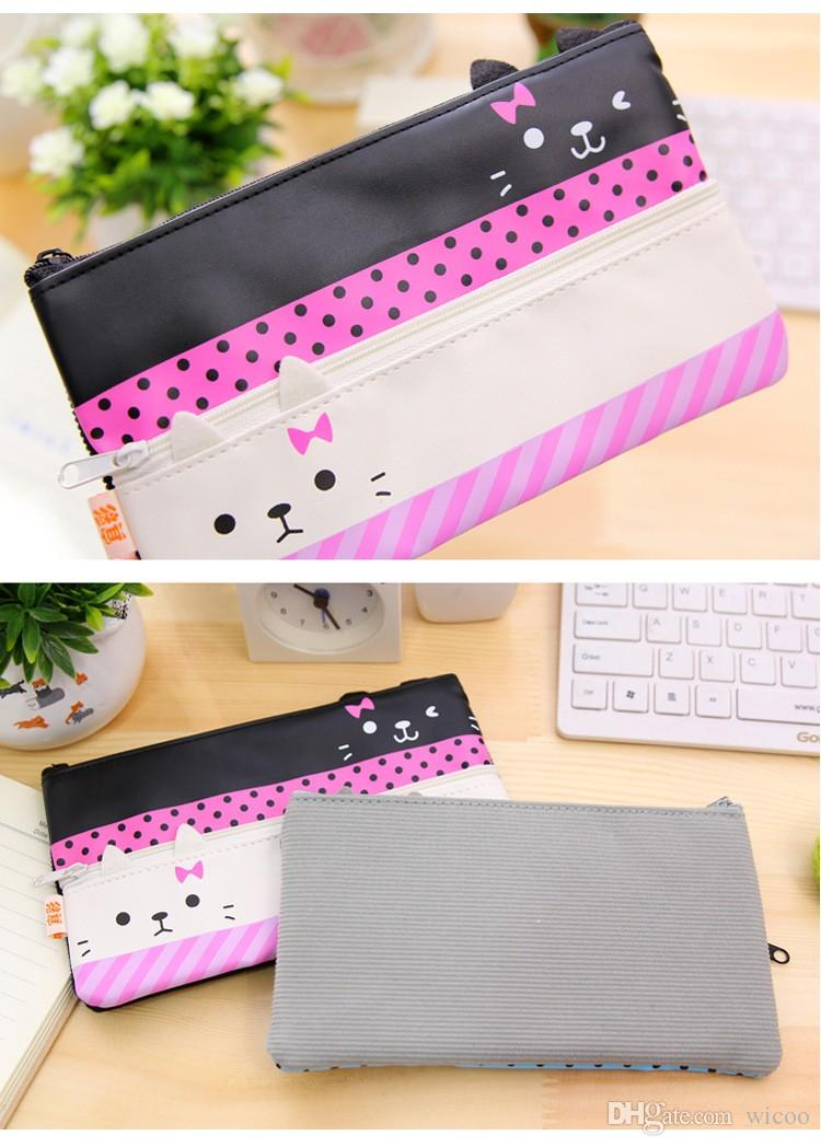 Escola kawaii suprimentos lápis Caixa de tela Bts Papelaria Lápis bonito Box Bag Lápis Pencilcase presente da escola bonito do gato