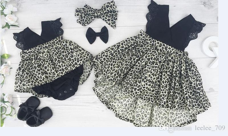 INS Summer girls leopard print dresses baby clothes kids hair bow+lace sleeve dress little sisters matching ins black romper infant cloth