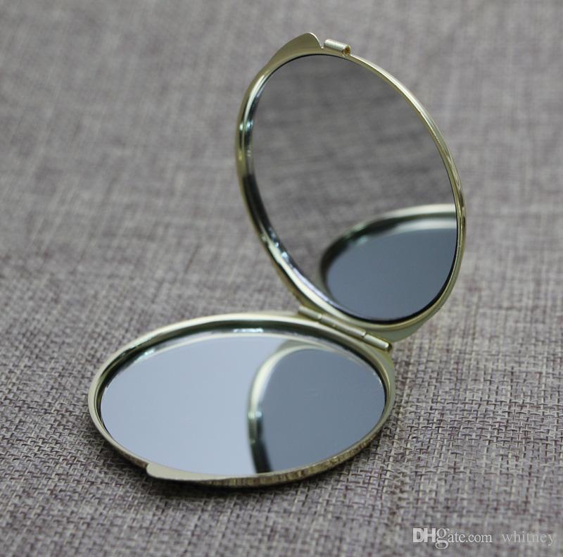 5 piezas / lote oro compacto espejo en blanco magnificación de dia 51mm de bolsillo + etiqueta epóxica DIY Set 18032-2 Pequeño camino