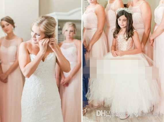 Rose Gold Sequins Flower Girls Dresses 2017 Puffy Tulle Ball Gown Princess Tutu Dress Girls Birthday Party Gown Custom Made