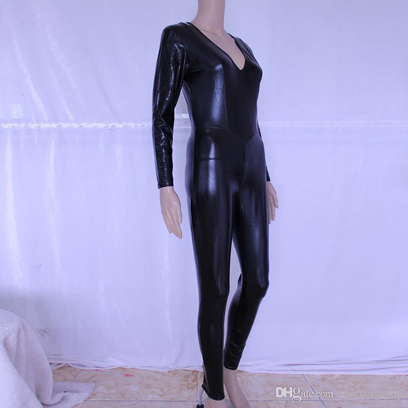 Hot Sexy Black Catwomen Jumpsuit Spandex Latex Zentai Catsuit Costumes for Women Body Suits Vinyl Leather Catsuit 7834