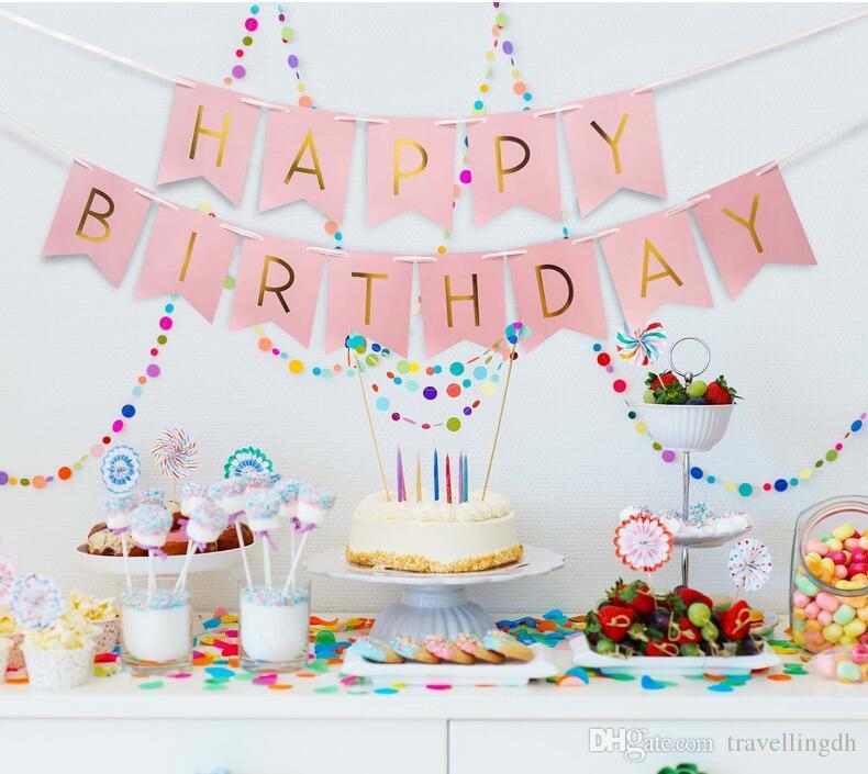 Grosshandel Rosa Happy Birthday Banner Weiss Seidenpapier Quaste Garland Pompom Geburtstag Dekorationen Madchen Jungen Kinder Party Favors Von Travellingdh