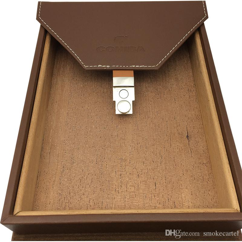 Top Quality COHIBA Cigar Case Brown Leather Cedar Wood Lined Cigar Travel Case Humidor with Humidifier Cigar Accessories