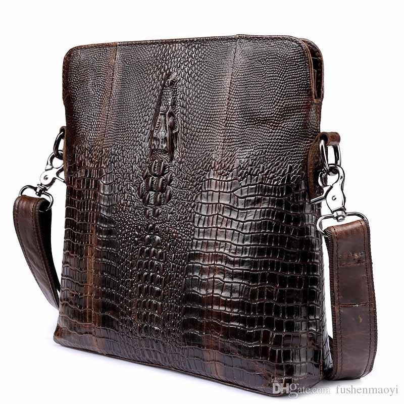 Nouveaux Hommes Messenger sacs Première Couche Cuir De Vache Véritable Sacs En Cuir Alligator Motif Business Casual Cross Body sac à bandoulière livraison gratuite