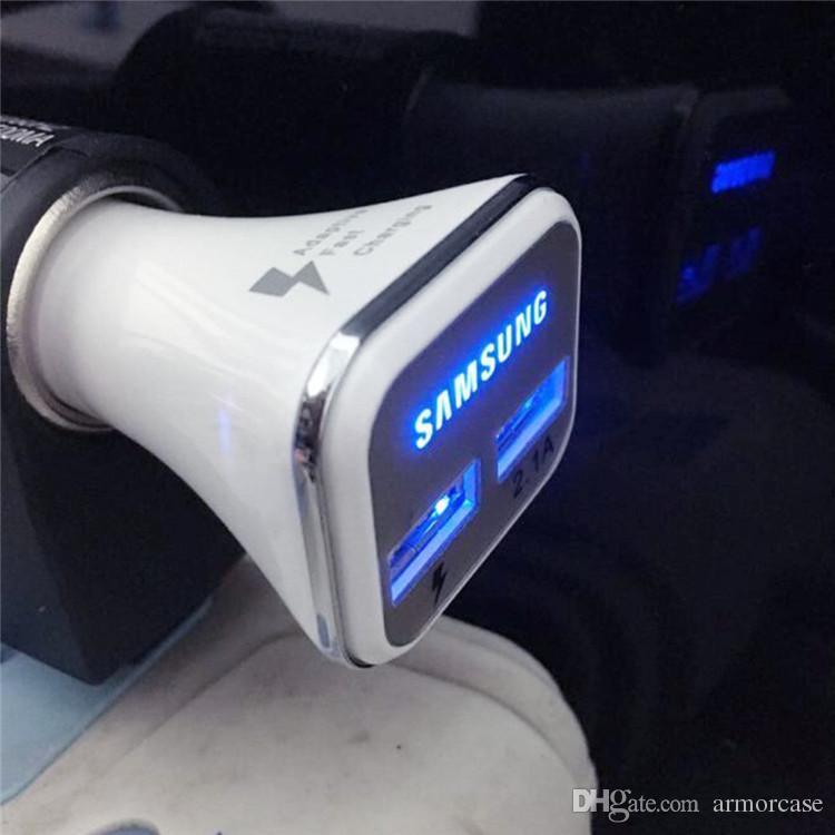 Cargadores LED para automóvil 2.1A Cargador rápido adaptable Puerto de salida USB dual Protable Adaptador de viaje de carga rápida para Samsung s7 edge s8 s8 más el mejor