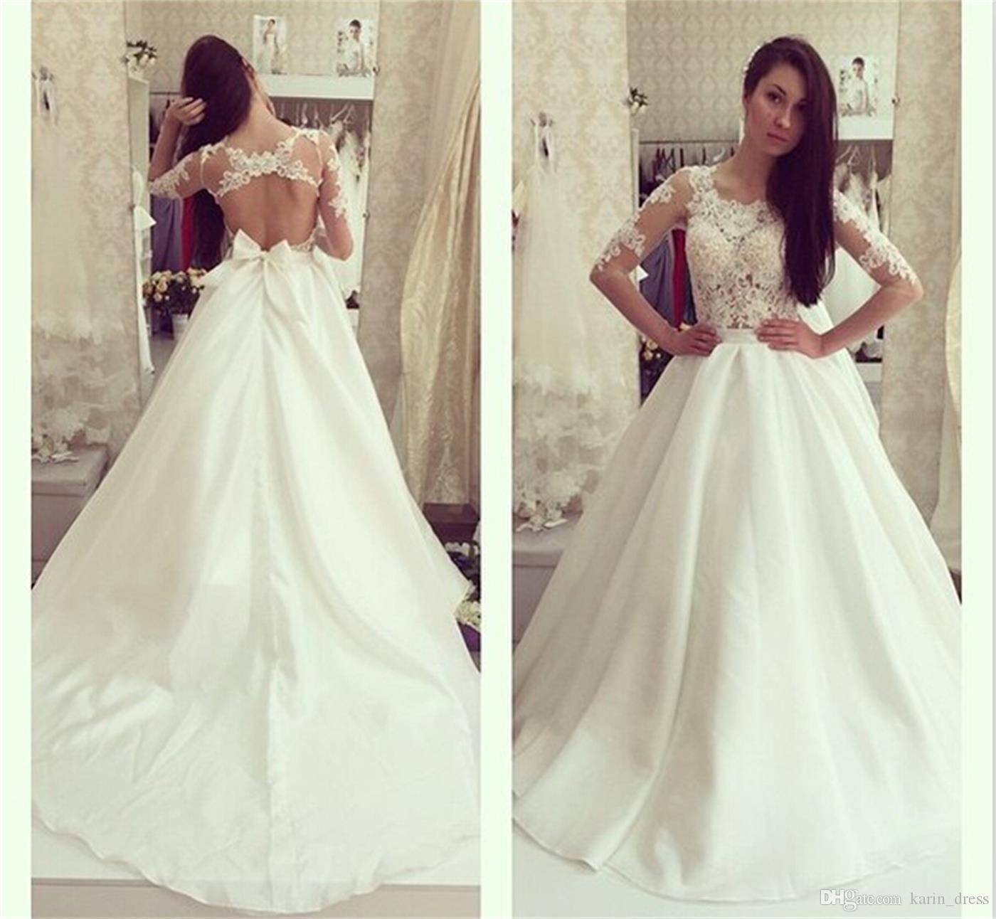 Discount Fitted Wedding Dresses Lace Applique Sexy Backless Satin