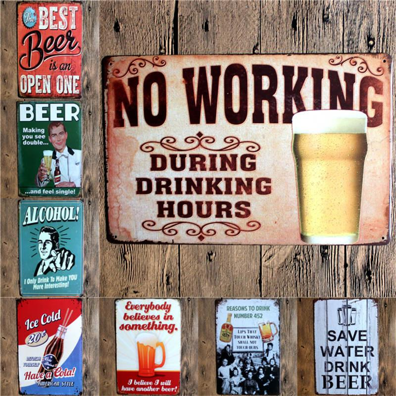 2018 wholesale beer vintage metal signs metal wall plaques art plaque metal decorative vintage. Black Bedroom Furniture Sets. Home Design Ideas