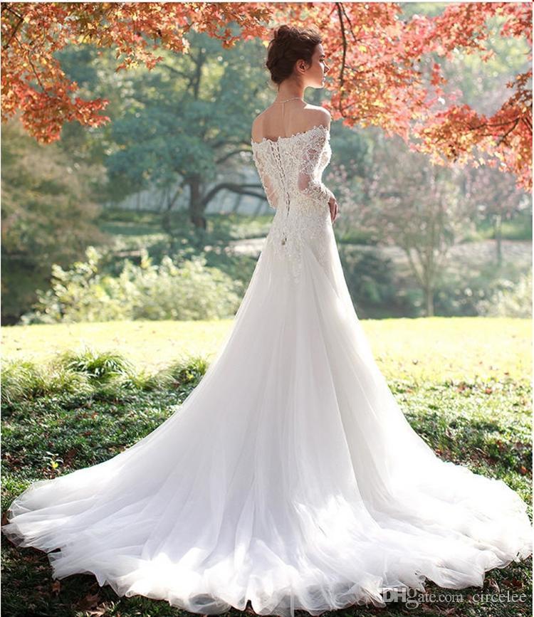 Modest Off Shoulder Long Sleeve Vintage Sweetheart Aline Wedding Dress Tulle Lace-Up Bridal Gowns +Free Veils
