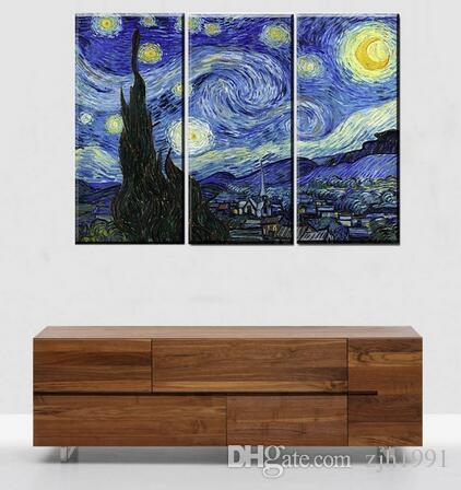 Art craft di Van Gogh notte stellata stampa su tela moderna pittura murale grande spazio di arte della tela