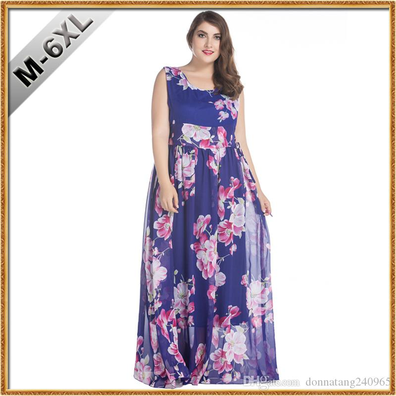 bbe2b40af958 2019 2017 Womens Summer Elegant Beach Chiffon Clothing Bohemian Printing  Maxi Long Dress Plus Size Dress 5XL 6XL Vestidos From Donnatang240965, ...