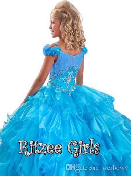 2019 robe pas cher promotionnelle en couches à manches florales jupe à volants Pageant robe Ritzee filles organza robe de reconstitution HY1152