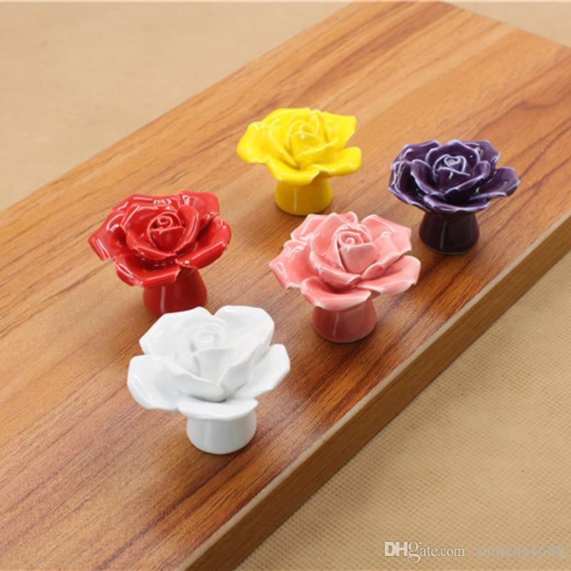5 Colors Rose Ceramic Handle Kitchen Cabinets Knobs Bedroom Cupboard  Drawers Ceramic Door Pull Handles With