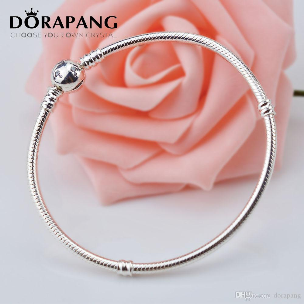 DORAPANG 925 Sterling Silver Bracelet Snake Chain with Authentic ...