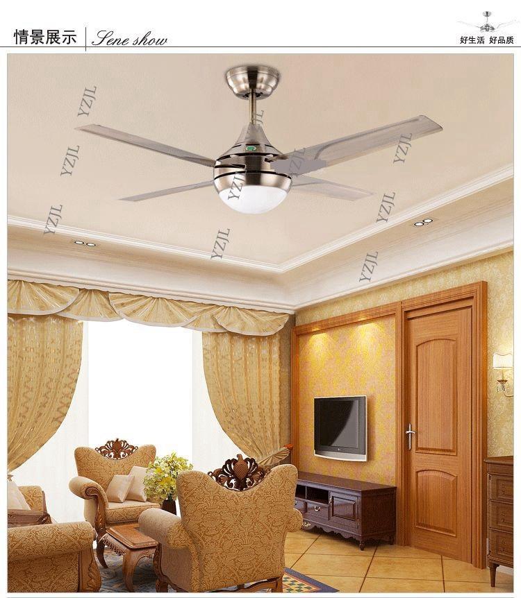 Modern minimalist stainless steel leaf 42inch LED fan ceiling fan light bedroom ceiling fan lights with remote control