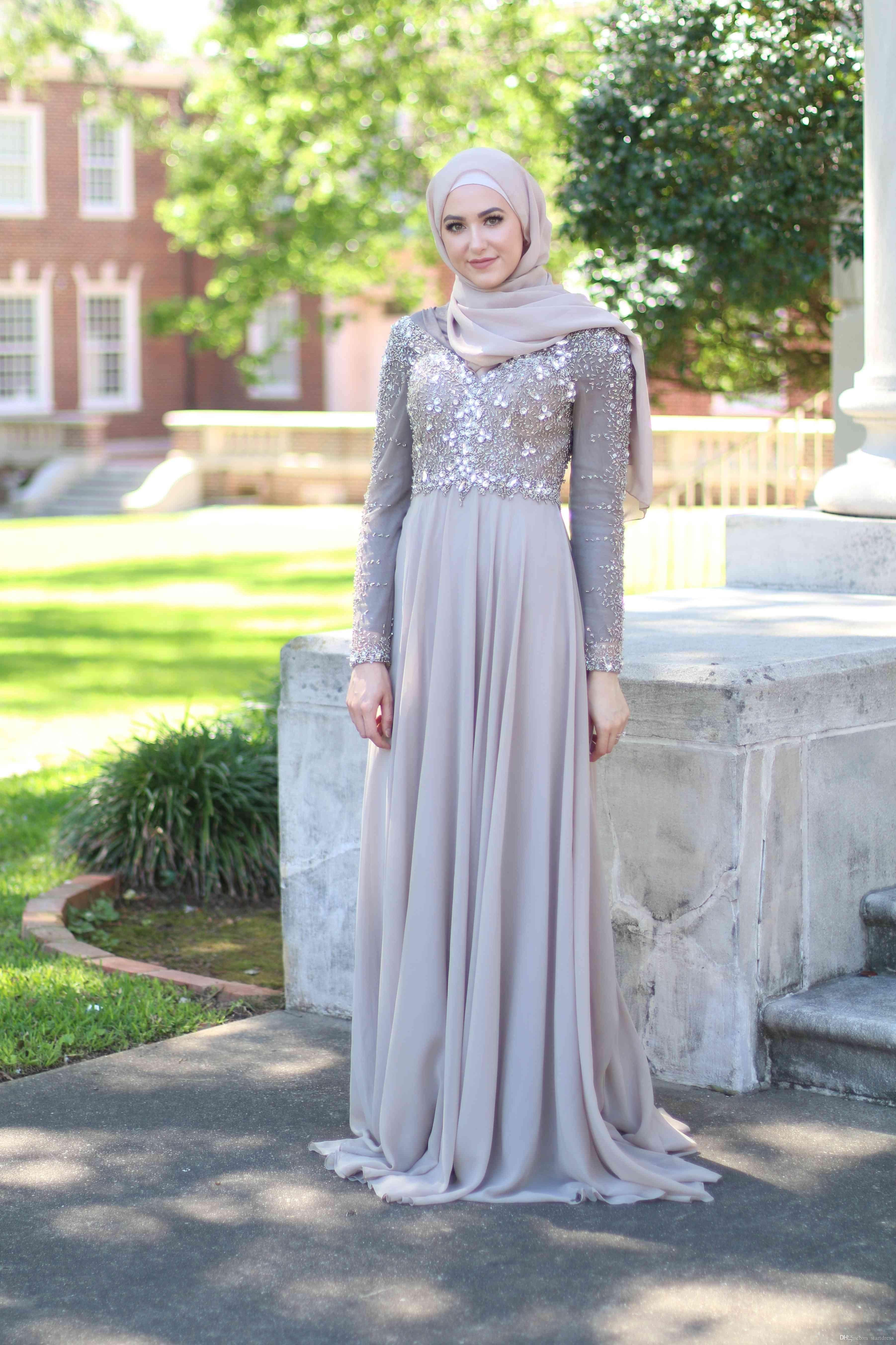 Grey Muslim Dress Elegant Prom Dresses Long Sleeve Top ...