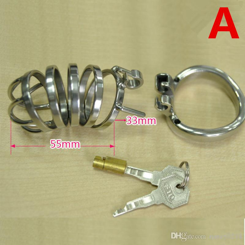 Chastity Cage New Stainless Steel Male Chastity Cock Devices with Anti off Penis Ring Male Chastity Toys Penis Lock Sex Product G206