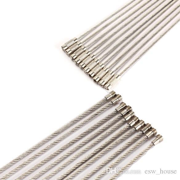 Llavero de acero inoxidable alambre clave cuerda de alambre de la cadena de mosquetón clave llavero anillo de cable para al aire libre Senderismo