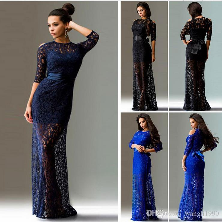 2017 Women Long Dress Party Evening Elegant Wedding Robe Vintage Lace Bodycon Guest Dresses Mother Of The Bride Big Size 2xl Teal Bridesmaid